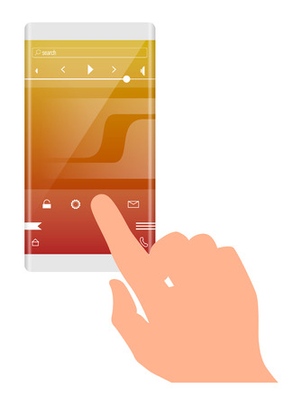 touch screen phone: Mobile application interface concept. finger on the touch screen phone