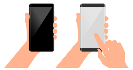 touch screen phone: Mobile concept in hand. Finger on the touch screen. Phone with curved edge in hand. Mockups with blank screen Stock Photo