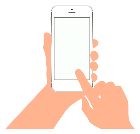 touch screen phone: Finger on the touch screen. Phone in hand. Mockups with blank screen
