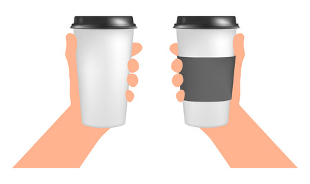 hand paper: Plastic coffee cup templates in hand. Paper Cup to go Illustration