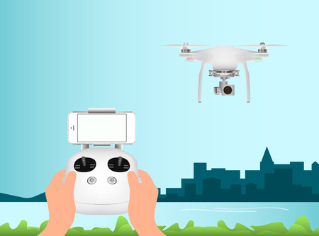 hover: White drone with digital camera for aerial photography. Remote Control and mobile smartphone