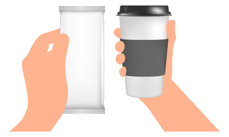 hand paper: Plastic coffee cup templates in hand. Paper Cup to go. White Blank Foil Packaging. Pack Template Stock Photo