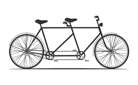 tandem bicycle: classic tandem bicycle illustration. ride together on tandem.