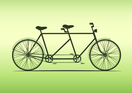 Tandem: classic tandem bicycle illustration. ride together on tandem.