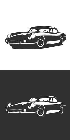 car isolated: Classic car silhouette isolated, Vintage Retro car . Classic Sport car.