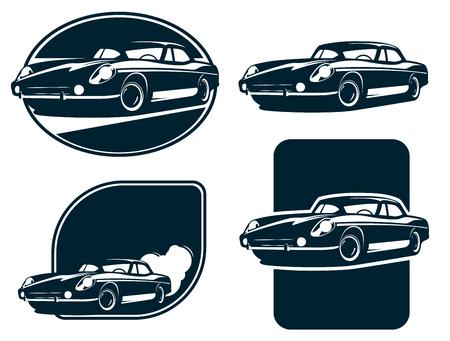 exclusive collection: Classic car silhouette labels, Vintage Retro car . Classic Sport car. Illustration