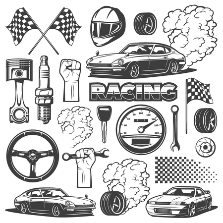 Car racing black monochrome icon set with objects and attributes of automobile, vector illustration. Racing helmet, piston, spark plug, wheel, flag.