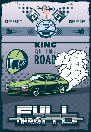 throttle: Race car poster with title full throttle and king of the road. elements of motorsport and racing. vector illustration