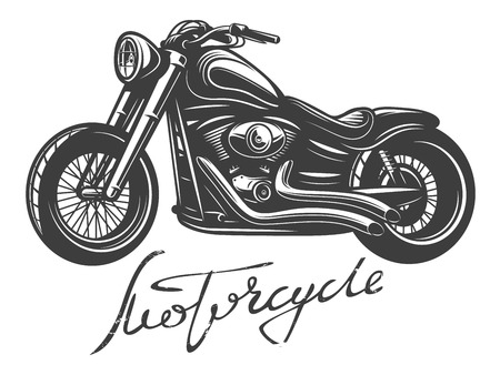 vintage cafe: Detailed monochrome motorcycle with hand lettering. Vector illustration. Isolate on white