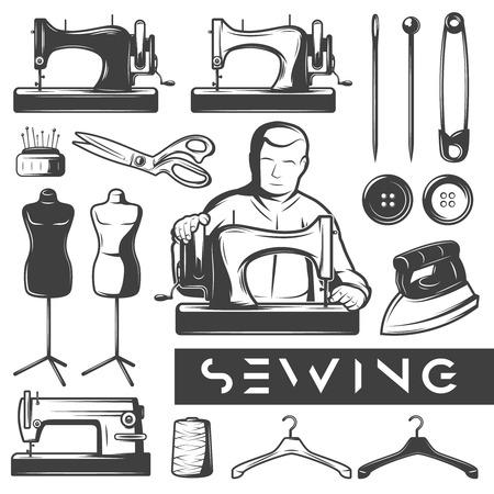 Zestaw rocznika monochromatycznych elementów do szycia. Tailor w pracy. Narzędzia krawieckie samodzielnie zestaw ikon. Nożyczki, maszyna do szycia, żelazo, manekin. Ilustracje wektorowe