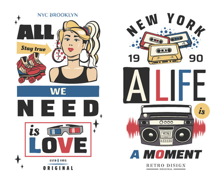 Typography slogan with girl, tape recorder, in 80s 90s memphis style vector for t shirt printing, graphic tee and printed tee