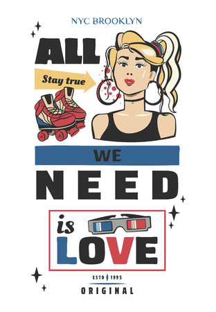 Typography slogan with girl, in 80s 90s memphis style vector for t shirt printing, graphic tee and printed tee