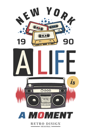 Typography slogan with tape recorder, in 80s 90s memphis style vector for t shirt printing, graphic tee and printed tee Stock Photo