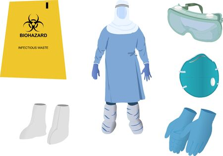 Vector Images of Personal Protective Equipment (PPE) Kit Ilustración de vector