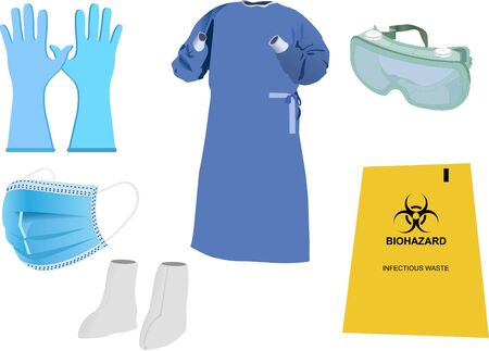 Vector Images of Personal Protective Equipment (PPE) Kit Vetores