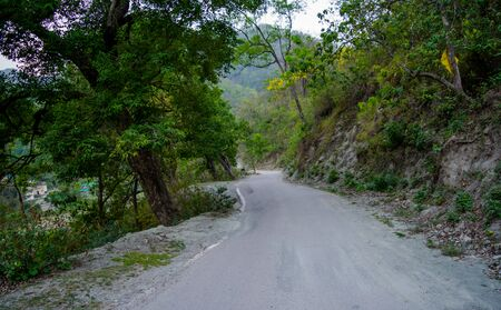 Roads between mountains of Rishikesh valley, Located in the foothills of the Himalayas in northern India.