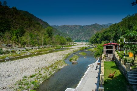 Ganga River at Rishikesh, Located in the foothills of the Himalayas in northern India,