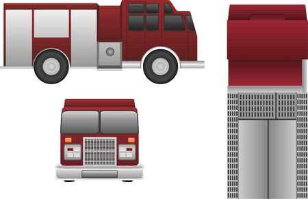 Fire Truck vector in three view isolated on white background.