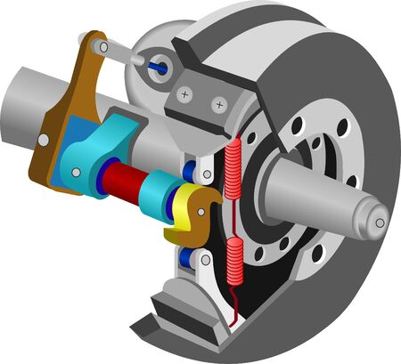 vector of car brake assembly, isolated on white background.