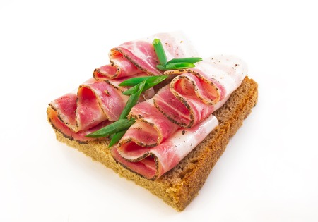 sandwich with bacon and black bread