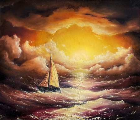 artist's canvas: painting stormy sea Stock Photo