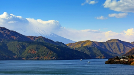 Mountains at Lake Ashi, Japan 版權商用圖片