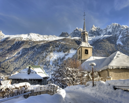 Chamonix, 13 Dec 2012, Church of Chamonix Village in Winter