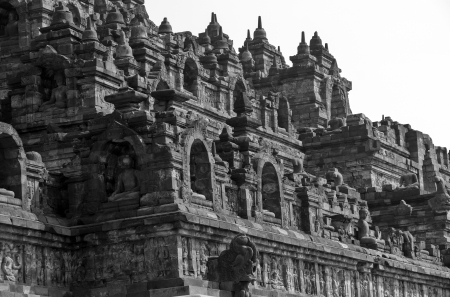 Borobodur in black and white photo