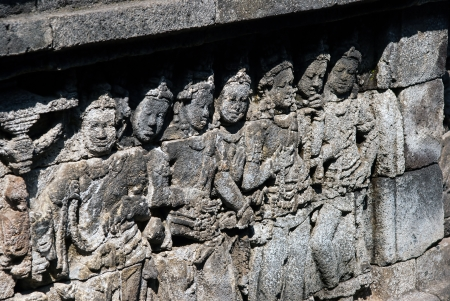 The close-up view of wall carvings at Borobodur, Indonesia photo