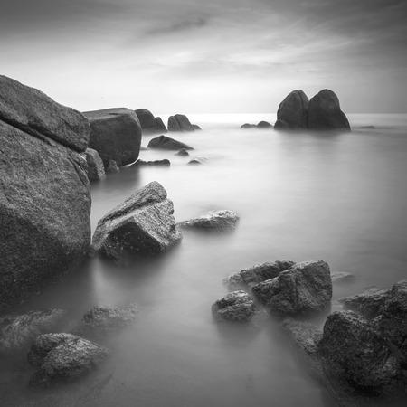 Rock seascape in black and white Banco de Imagens