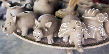 Lombok, Indonesia, 1 June 2014 - Artistic clay crafted design for children or home decor  unfinished