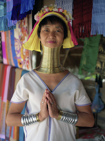Chiang Mai, Thailand, 7 June 2014 - Long Neck Karen or Padong lady