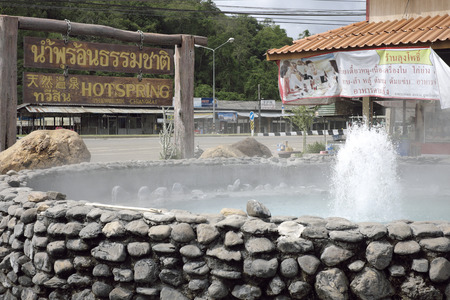 Chiang Rai, Thailand, 6 Jun 2014 - Thaweesin geizer hot spring at Wiang Pa Pao 新聞圖片