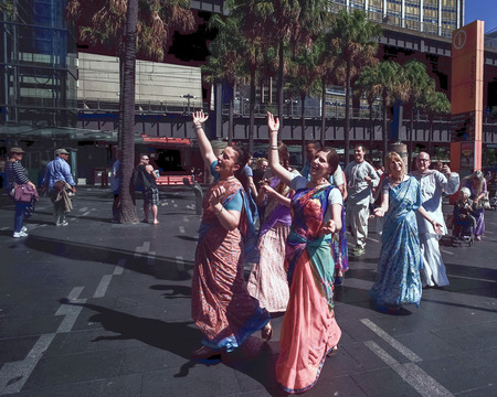 australasia: SYDNEY, AUSTRALIA - Sept 12, 2015 - Australian Hindus in organisation parading the city Editorial