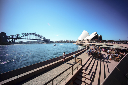 SYDNEY, AUSTRALIA - Sept 12, 2015 - View of Harbour Bridge and Opera House at Circular Quay