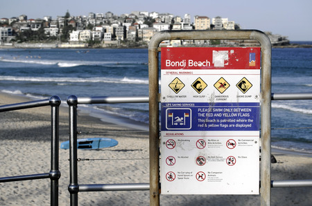 governed: SYDNEY, AUSTRALIA - Sept 14, 2015 - Signboards and Recycle Bins at Bondi Beach.