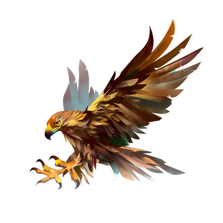 Illustration isolated bird. Sketch of a flying eagle. Stock Photo