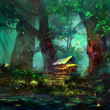 호수 근처 숲에서 만화 집의 컬러 드로잉