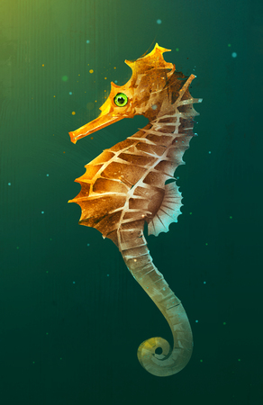 sketch bright lighted seahorse in the water Stock Photo