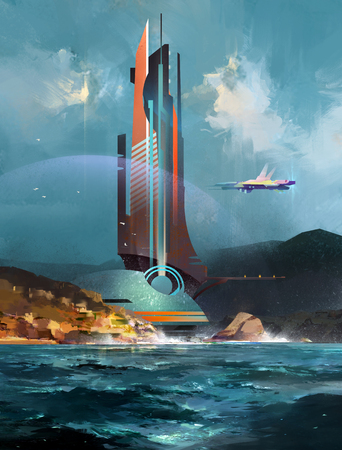art fantastic landscape with a futuristic building and a spaceship