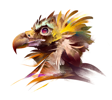 painted bright bird head of a vulture on the side