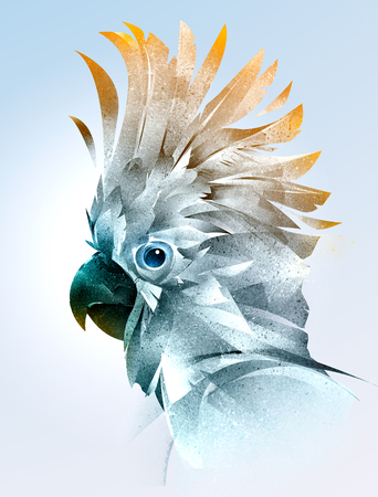 painted color portrait of a bird of the parrot side