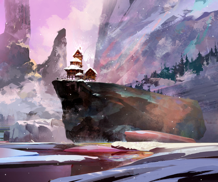 painted winter landscape with a house on a cliff