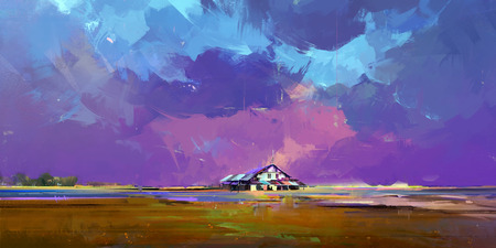 painted a bright landscape with a house
