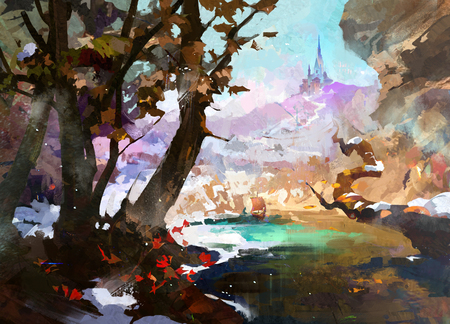 Drawn fantasy landscape with castle and trees