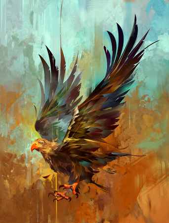 Painterly bright stylized eagle on a textured background