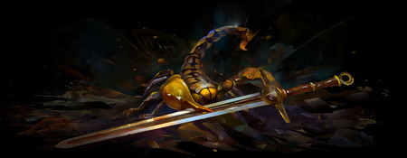 Painted bright scorpion with a sword on a black background