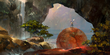 art colorful fantasy landscape with a traveler and a waterfall