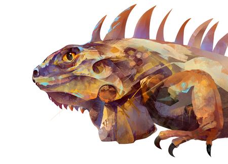sketch iguana lizard on a white background on the side
