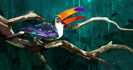 painted bird toucan sitting on a branch